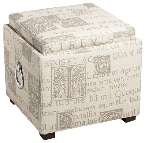 Ottoman Alphabet Traditional Script Fabric Upholstered Storage Ottoman Traditional Footstools And