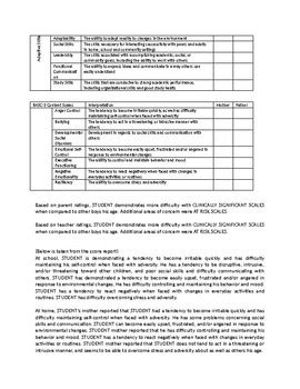 Basc 3 Tables And Template By Tools For School Psychologists Tpt Basc 3 Report Template