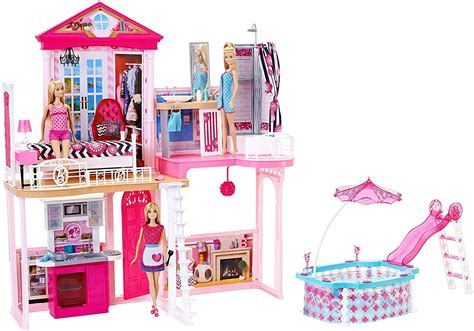 barbie doll house dream house barbie dream house pool gift set with three dolls 31 inches tall barbie collectibles