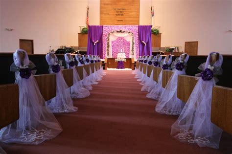 church bench decorations wedding purple elegant wedding bows pew church aisle by
