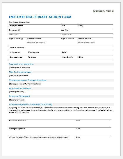 employee disciplinary form template disciplinary forms templates for ms word document hub