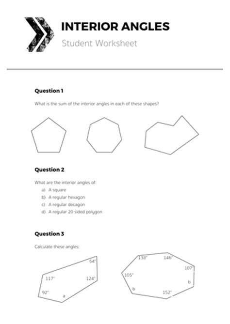Exterior Angles Of Polygons Worksheet Tes