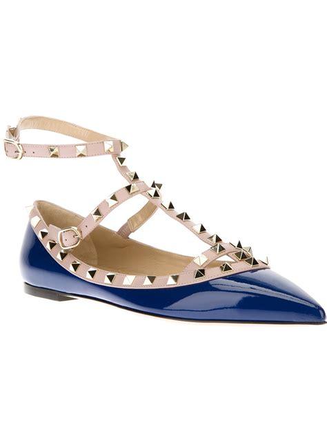 valentino rockstud sandals valentino rockstud flat sandal in blue lyst