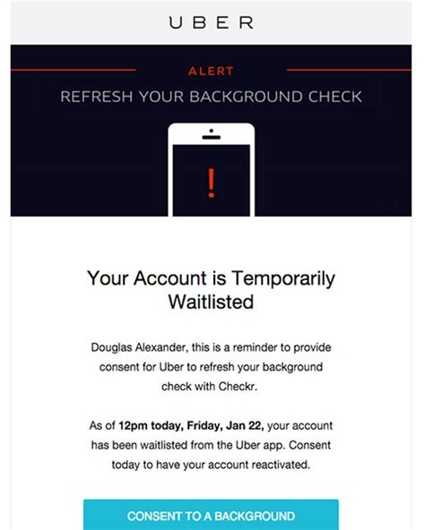 Uber Background Check Refresh When Uber Runs A Second Background Check Ridesharingdriver Background Check Email Template