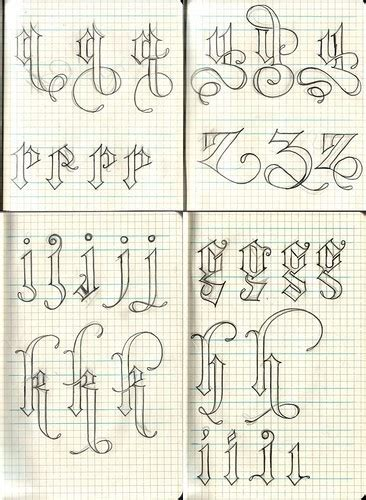 gothic tattoo alphabet design font gothic illustration letters image