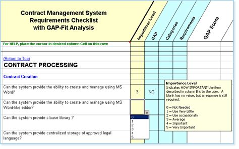 contract management templates contract management software requirements checklist fit