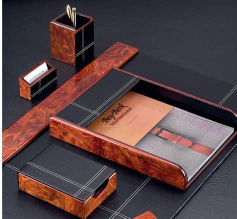 what is a desk set 6 burl wood black leather desk set w brass