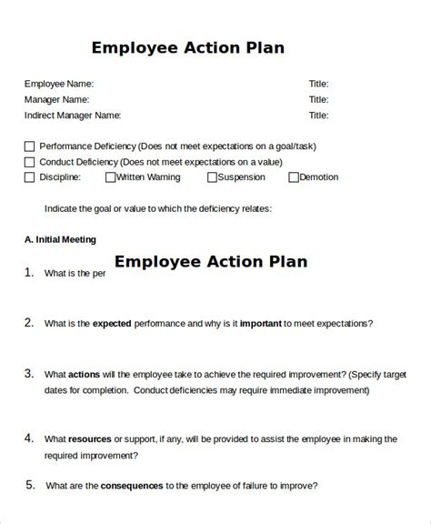 Action Plan Template 20 Free Sle Exle Format Free Premium Templates Employee Plan Template