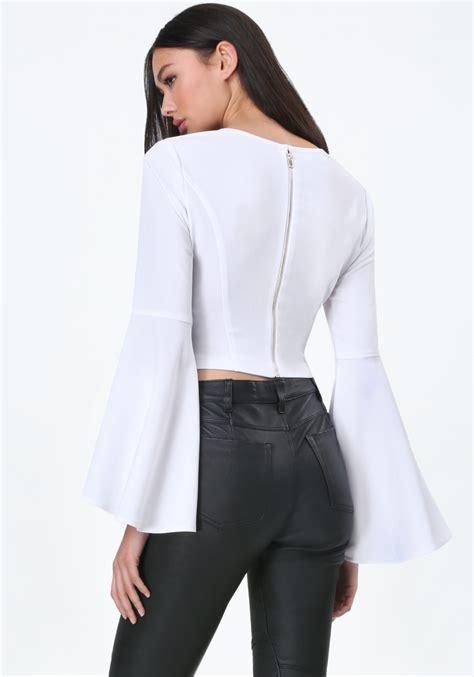 Bell Sleeve Top bebe bell sleeve top in white lyst
