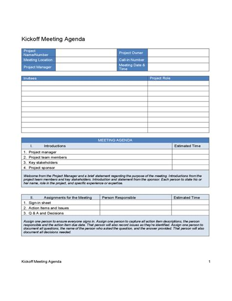 Kick Off Meeting Agenda Free Download Project Management Kick Meeting Template