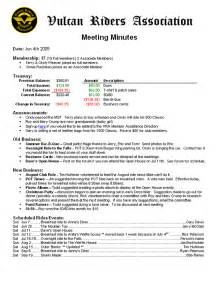 Writing Up Minutes Template by Chapter Meetings