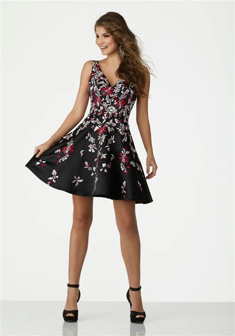 floral embroidered satin homecoming dress   neckline
