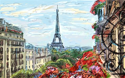 wallpaper laptop kota paris eiffel tower paris sky clouds houses france french artwork