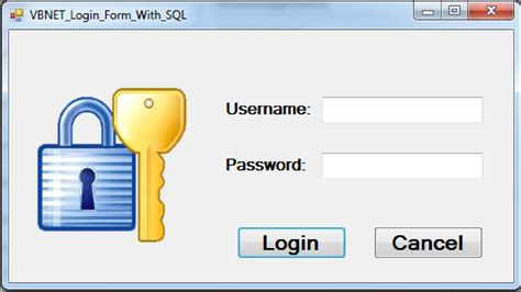 design login form in vb net vb net how to create login form with sql database using