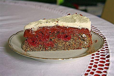 kirsch mohn kuchen kirsch mohn kuchen mit schokocreme und sahne