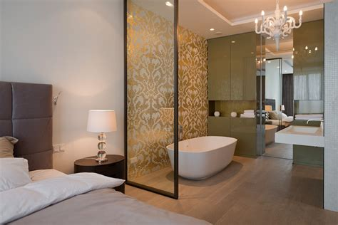 open plan bedroom ensuite lighting details create drama in modern open plan apartment