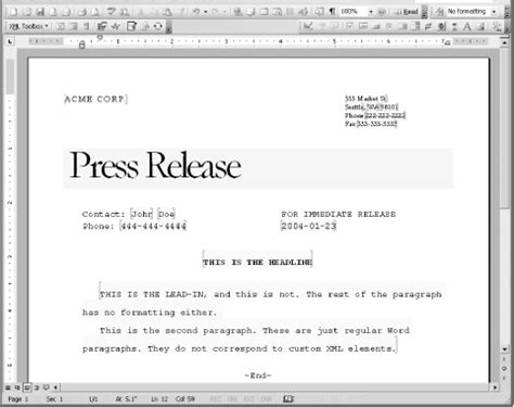 Simple Press Release Template by 4 2 A Working Exle Office 2003 Xml