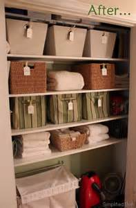 stylish organized linen closet before after