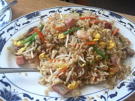 Lucky Garden Chasse combo fried rice with some spoonfuls missing bc was