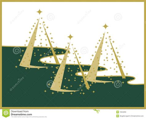 three gold christmas trees on white and green landscape