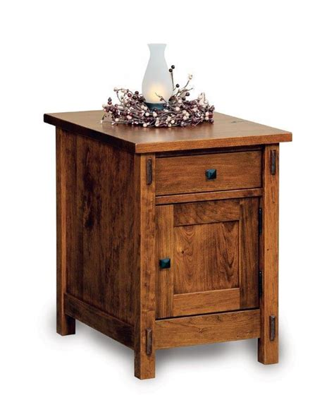 End Table With Door by Amish Centennial Enclosed End Table With Drawer And Door