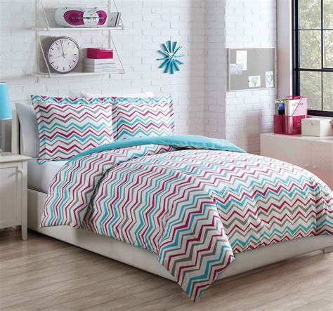 love pink comforter set microfiber kids chevron love aqua pink comforter set