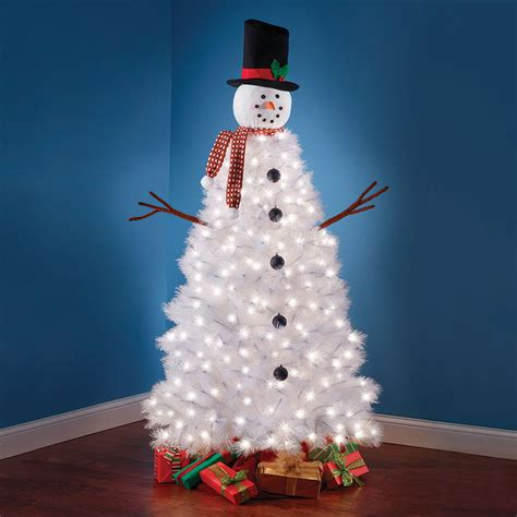 christmas tree decorated with snowmen illuminated snowman tree the green