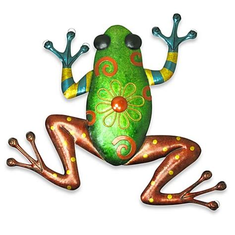 buy indooroutdoor metallic green frog metal wall art