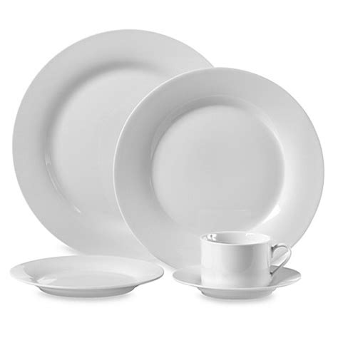 bed bath and beyond dish sets round porcelain 45 piece dinnerware set in white bed