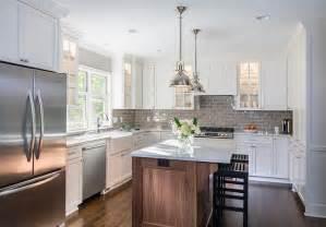 Backsplash For White Kitchen Cabinets Under Cabinet Double Door Refrigerator Transitional
