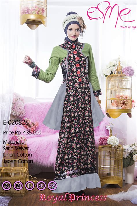 Gamis Katun Esme E 040214 esme royal princess e 20826 baju muslim gamis modern