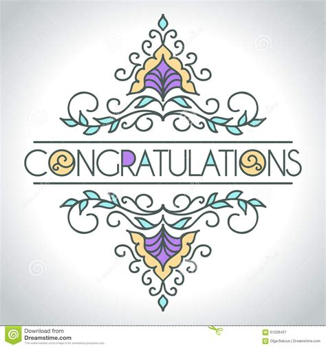 floral ornament design template congratulations stock