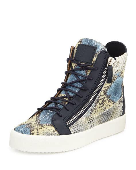 giuseppe sneakers mens giuseppe zanotti s embossed snake print high top