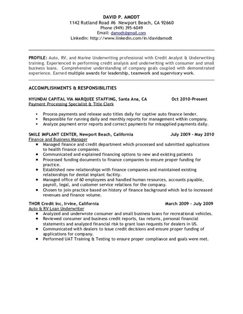 Underwriting Manager Sle Resume by Underwriting Credit Analyst Resume