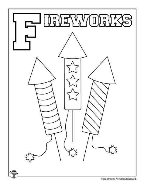 whole alphabet coloring page f is for fireworks woo jr kids activities