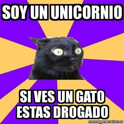 imagenes de gatos unicornios meme anxiety cat soy un unicornio si ves un gato estas