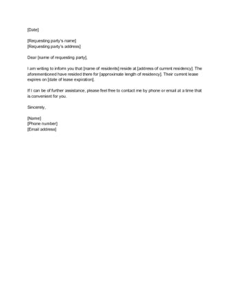 Proof Of Residency Letter From Landlord