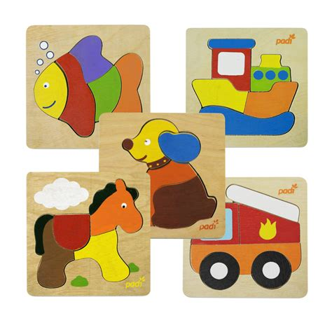 Puzzle Kayu Bentuk Anjing 1 set padi toys ship fish engine truck