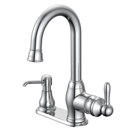 glacier bay single handle kitchen faucet glacier bay newbury single handle bar faucet in chrome with soap dispenser fs1a0026cp the home