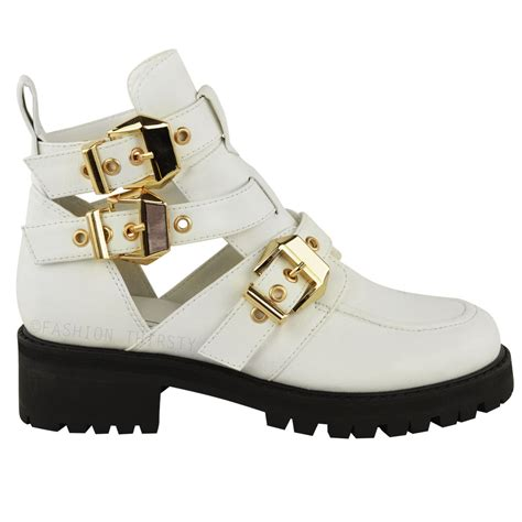 Winter Shoes Most Stylish Cutout Shoes by New Womens Cut Out Flat Heel Chunky Buckle Biker