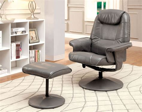 gray chair with ottoman stanton swivel gray recliner with ottoman from furniture