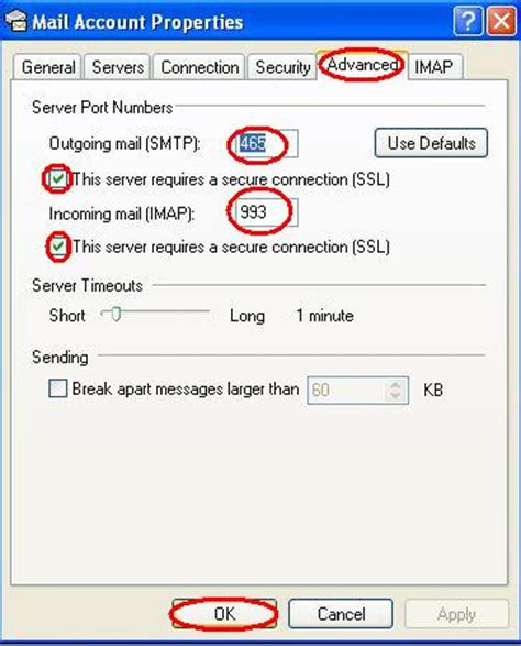 secure smtp port configuring imap ssl and smtp ssl in outlook express 6