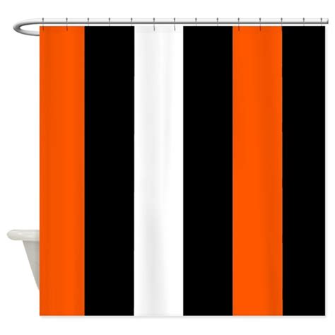 Orange And White Shower Curtain by Orange Black And White Stripes Shower Curtain By