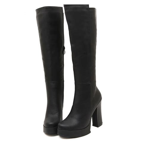 knee high chunky heel boots black chunky knee high platform heel boots
