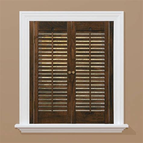 Homebasics Traditional Real Wood Walnut Interior Shutter Home Depot Window Shutters Interior