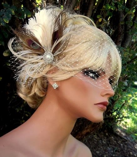 Vintage Bridal Hair Fascinators by Ivory Bridal Fascinator Net Bridal Veil Vintage