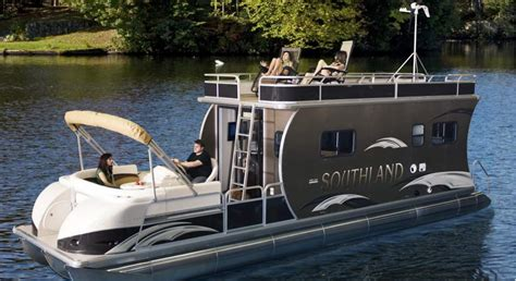 Cabin Pontoon Boat by Lott Boat Works