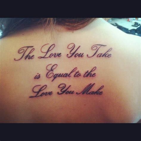 song lyric tattoos beatles lyrics back inked
