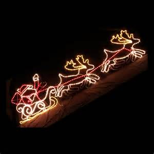 led santa on sleigh reindeer rope light christmas