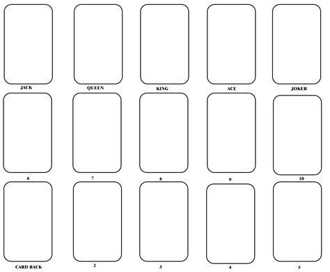 template for to make a card deck of cards template deck design and ideas